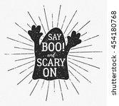 vector halloween typography... | Shutterstock .eps vector #454180768