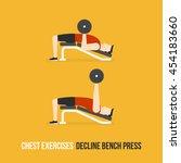 chest exercises. decline bench... | Shutterstock .eps vector #454183660