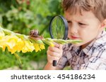 happy little boy playing in the ... | Shutterstock . vector #454186234