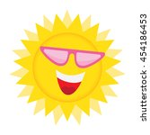 summer sun face with sunglasses ... | Shutterstock .eps vector #454186453