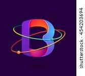 letter b logo with atoms orbits ... | Shutterstock .eps vector #454203694