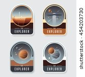 four space badge emblems with... | Shutterstock .eps vector #454203730