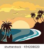 summer beach sunset vector | Shutterstock .eps vector #454208020