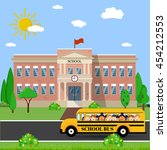 welcome back to school. school... | Shutterstock .eps vector #454212553