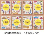 set of thin line travel world... | Shutterstock .eps vector #454212724