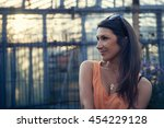 portrait of a beautiful smiling ... | Shutterstock . vector #454229128