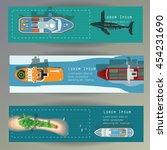 sea ships top view vector web... | Shutterstock .eps vector #454231690