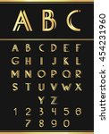 gold alphabetic fonts and... | Shutterstock .eps vector #454231960
