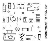 medicine icons pharmacy... | Shutterstock .eps vector #454237459