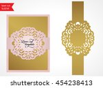 laser cut wedding invitation... | Shutterstock .eps vector #454238413
