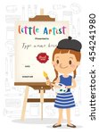 little artist cartoon standing... | Shutterstock .eps vector #454241980