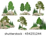 set landscapes  coniferous and... | Shutterstock .eps vector #454251244