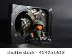 miniature teddy toy near hard...   Shutterstock . vector #454251613