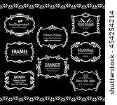 doodle vector frame set.ethnic... | Shutterstock .eps vector #454254214