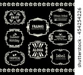 doodle vector frame set.ethnic... | Shutterstock .eps vector #454254226