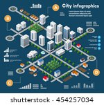 3D city isometric three-dimensional infographics including skyscrapers, homes and stores with streets and trees in the area of the town with the business conceptual graphs and diagrams | Shutterstock vector #454257034