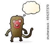 cartoon monkey with thought... | Shutterstock . vector #454257370
