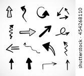 hand drawn arrows  vector set | Shutterstock .eps vector #454268110