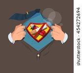 man open shirt to show ... | Shutterstock .eps vector #454272694