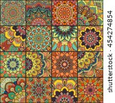 boho tile set and seamless... | Shutterstock .eps vector #454274854