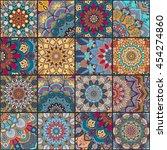 boho tile set and seamless... | Shutterstock .eps vector #454274860