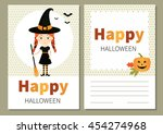 greeting card for halloween.... | Shutterstock .eps vector #454274968