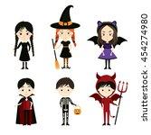 cute kids in halloween costumes.... | Shutterstock .eps vector #454274980