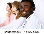 call center operators. african...   Shutterstock . vector #454275538