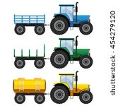 set of farm tractors with... | Shutterstock .eps vector #454279120