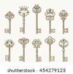 vector antique chaves or... | Shutterstock .eps vector #454279123