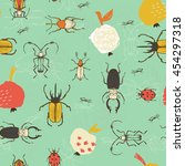 seamless bug pattern. funny... | Shutterstock .eps vector #454297318