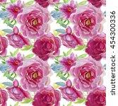 pink peonies  botanical... | Shutterstock . vector #454300336