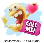 3d rendering. emoji saying call ... | Shutterstock . vector #454308586