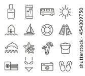 summer holidays travel icons... | Shutterstock .eps vector #454309750