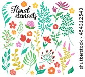 hand drawn floral elements set... | Shutterstock .eps vector #454312543