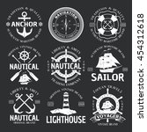 nautical emblem set white on... | Shutterstock .eps vector #454312618