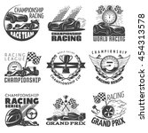racing emblem set with... | Shutterstock .eps vector #454313578
