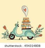 vintage scooter poster design.... | Shutterstock .eps vector #454314808