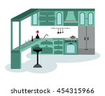 stylish modern kitchen... | Shutterstock .eps vector #454315966