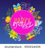 happy birthday vector banner.... | Shutterstock .eps vector #454316434