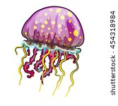 colorful jellyfish isolated on... | Shutterstock .eps vector #454318984