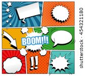 Comic book background. Vector illustration with speech bubbles, arrow, stars, blots, sound and halftone effects, funny radial and dotted backgrounds. Pop-art style. | Shutterstock vector #454321180