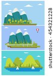 three flat design nature... | Shutterstock .eps vector #454321228