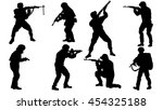 set of soldier silhouette | Shutterstock .eps vector #454325188