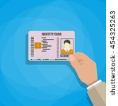 hand holding the id card.... | Shutterstock .eps vector #454325263