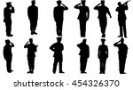 set of military man saluting... | Shutterstock .eps vector #454326370