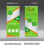 green roll up banner stand... | Shutterstock .eps vector #454332340