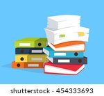 stack of papers on blue... | Shutterstock . vector #454333693