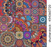 boho tile set  and seamless... | Shutterstock .eps vector #454360720
