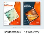 orange cover design for annual... | Shutterstock .eps vector #454363999